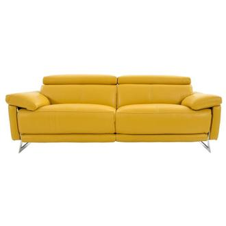 Gabrielle Yellow Leather Power Reclining Sofa
