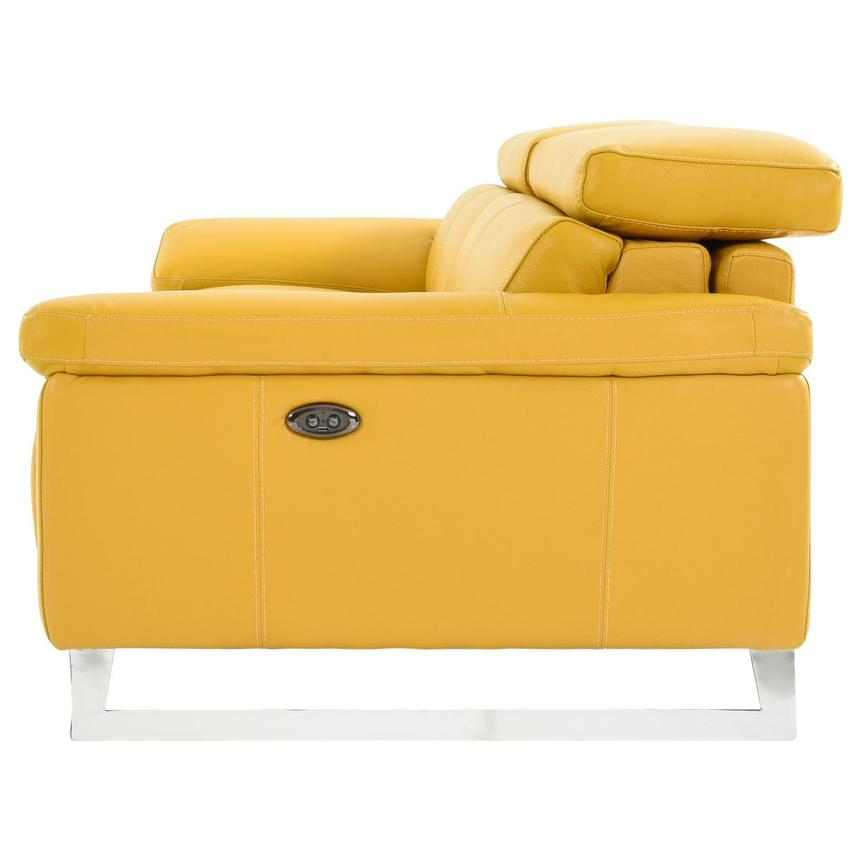 Gabrielle Yellow Leather Power Reclining Sofa  alternate image, 4 of 11 images.