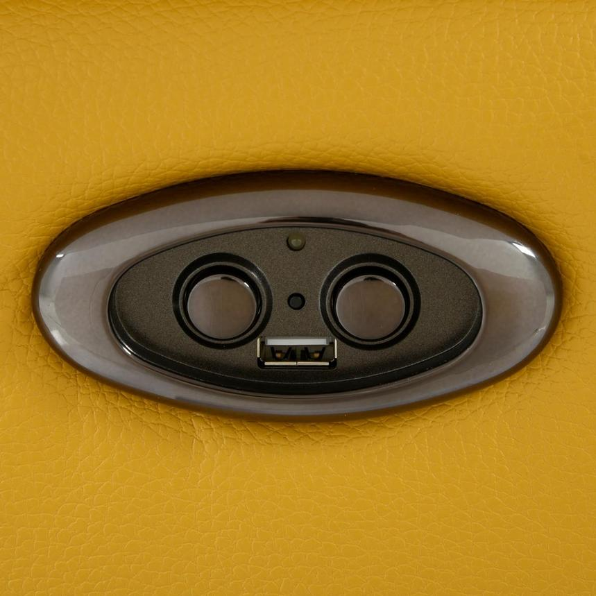 Gabrielle Yellow Leather Power Reclining Sofa  alternate image, 9 of 11 images.