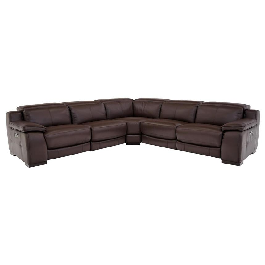 Gian Marco Dark Brown Leather Power Reclining Sectional  main image, 1 of 8 images.