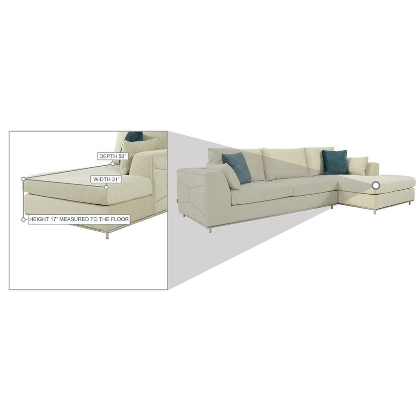 Grigio Cream Sectional Sofa w/Right Chaise  alternate image, 9 of 9 images.