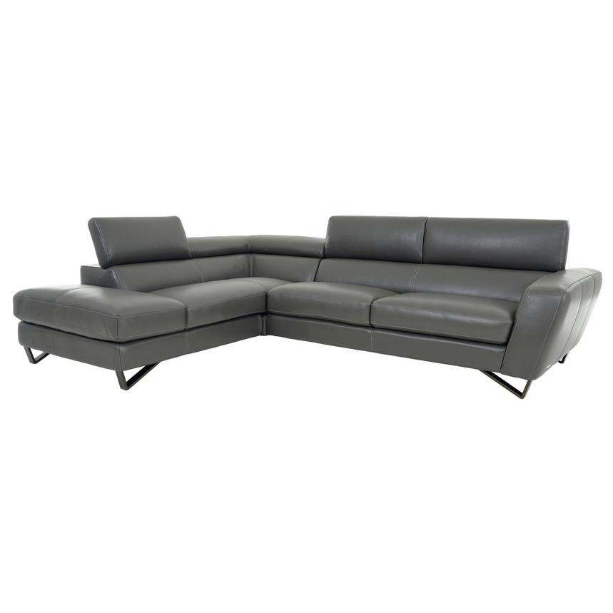 Sparta Gray Leather Corner Sofa w/Left Chaise  alternate image, 3 of 12 images.