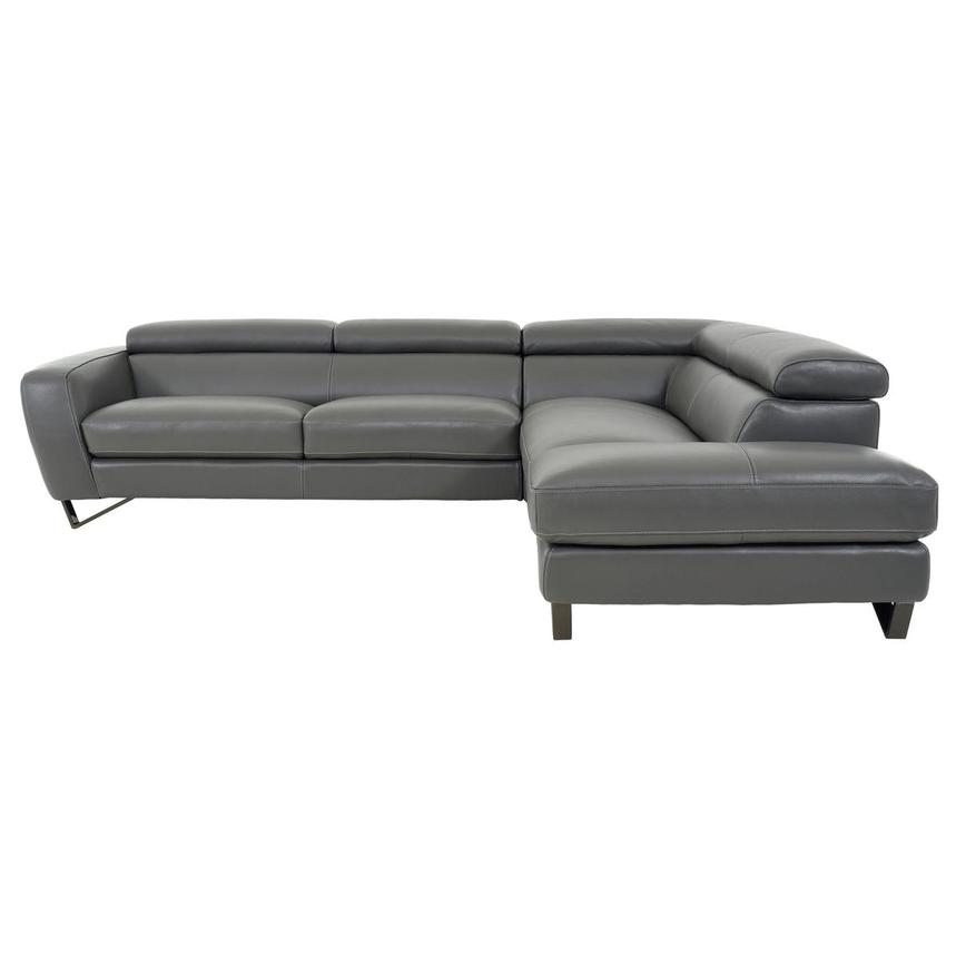 Sparta Gray Leather Corner Sofa w/Right Chaise  alternate image, 4 of 12 images.