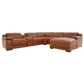 Gian Marco Tan Leather Power Reclining Sectional w/Right Chaise