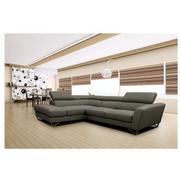 Sparta Gray Leather Corner Sofa w/Right Chaise  alternate image, 2 of 12 images.