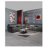 Austin Dark Gray Leather Power Reclining Sectional  alternate image, 2 of 9 images.
