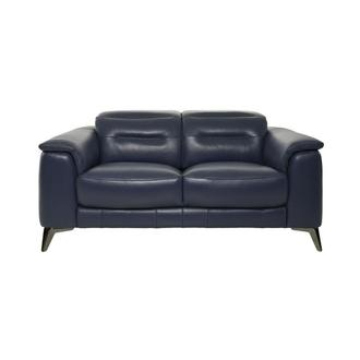 Anabel Blue Leather Loveseat