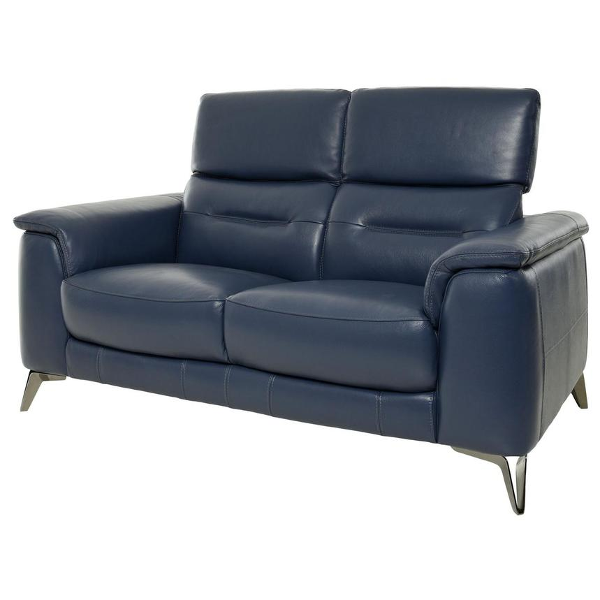 Anabel Blue Leather Loveseat  alternate image, 3 of 10 images.