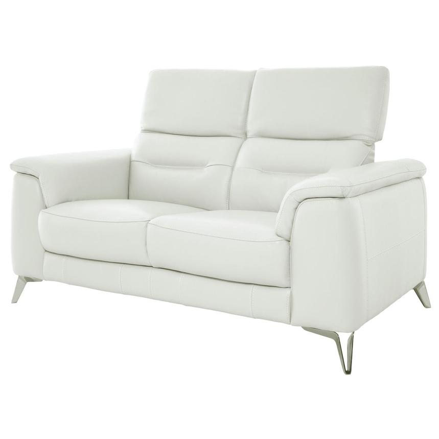 Anabel White Leather Loveseat  alternate image, 3 of 10 images.