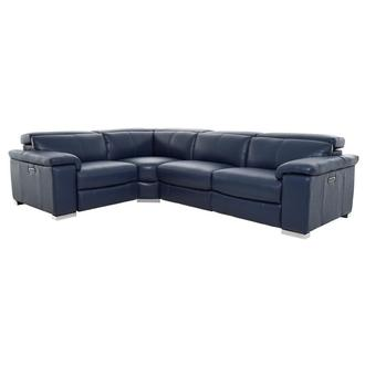 Charlie Blue Leather Power Reclining Sectional