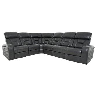 Gio Gray Leather Power Reclining Sectional