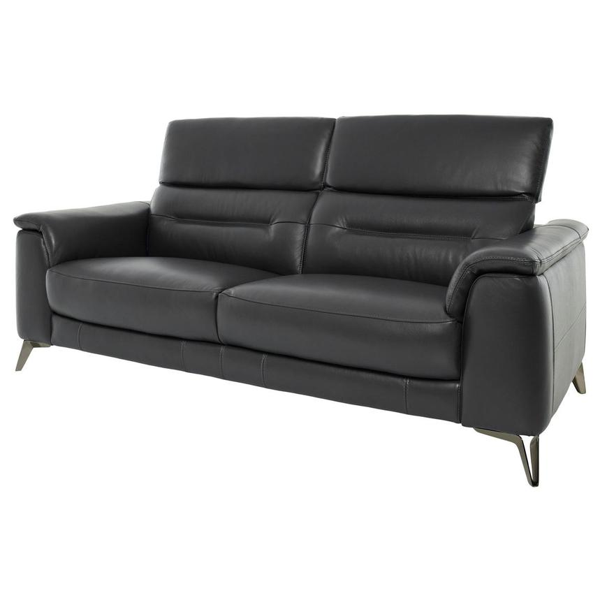 Anabel Gray Leather Sofa  alternate image, 3 of 11 images.