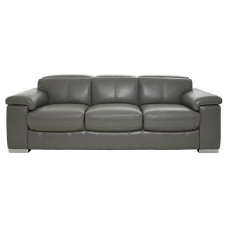 Charlie Gray Leather Sofa