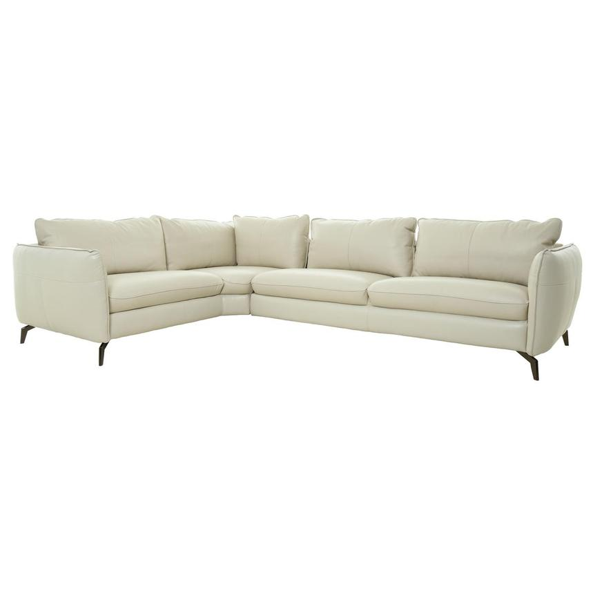 Opal Cream Leather Corner Sofa  main image, 1 of 8 images.