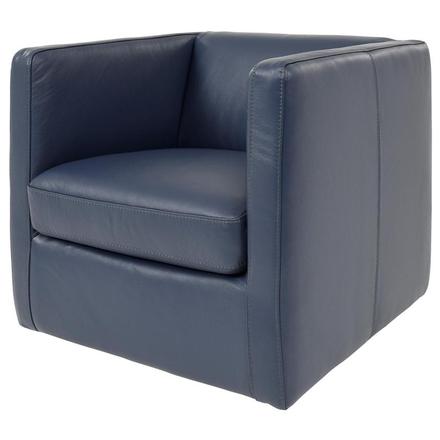 Cute Blue Leather Swivel Chair w/2 Pillows  alternate image, 4 of 11 images.