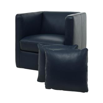 Cute Blue Leather Swivel Chair w/2 Pillows